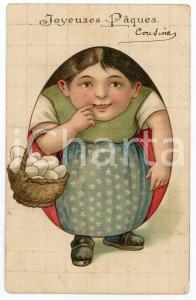 1908 JOYEUSES PÂQUES Egg woman ILLUSTRATED embossed postcard FP VG