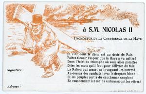 1899 SATIRE Première conférence de la Haye - Tsar Nicolas II de Russie *Postcard