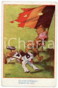1917 WW1 - HUMOUR En avant la Belgique - Belgium forever ILLUSTRATED Postcard FP