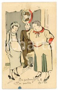 1935 BELGIUM - HUMOUR Pregnant maid - En position! ILLUSTRATED Postcard FP vg