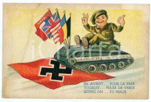 1940 ca WW2 SATIRE Child on a tank crushes a swastika flag ILLUSTRATED Postcard