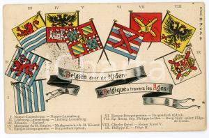 1900 ca BELGIQUE à travers les ages ILLUSTRATED embossed postcard FP NV