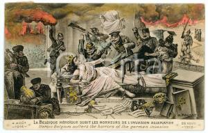 1919 WW1 Belgique subit les horreurs de l'invasion allemande - Carte postale FP