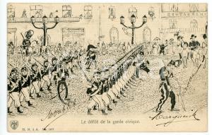 1900 ca BELGIQUE SATIRE Le défilé de la garde civique - Carte postale ILLUSTRÉE