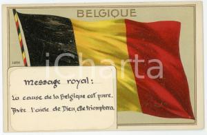 1920 ca BELGIQUE Message Royal - Flag of Belgium - Embossed postcard FP NV