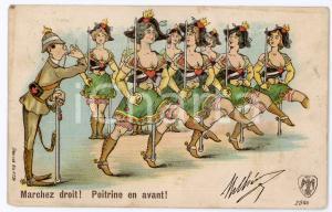 1907 BELGIQUE - HUMOUR Marchez droit! Poitrine en avant! - Carte postale FP VG