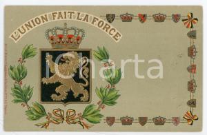 1910 ca BELGIUM Coat of arms - L'union fait la force - Embossed postcard FP NV