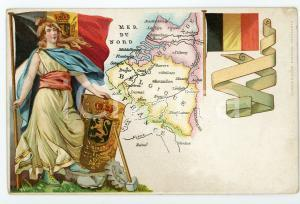 1900 ca BELGIUM Coat of arms and flag ILLUSTRATED postcard FP NV