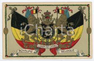 1920 ca ROYAUME DE BELGIQUE Blason - L'union fait la force - Embossed postcard