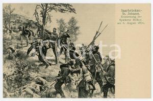 1900 ca SAARBRUCKEN - SANKT JOHANN Battle of Spicherer ILLUSTRATED Postcard