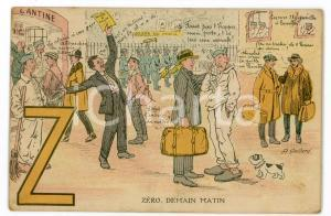 1920 ca ALPHABET Letter Z - Zéro, demain matin ILLUSTRATED Postcard FP NV