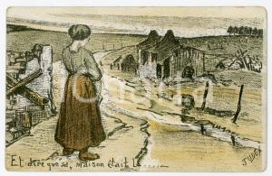1915 WW1 BELGIQUE Et dire que sa maison était la Postcard SEQUARIS Lits anglais
