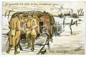 1915 WW1 Poste aquatique - Si je casse ma pipe tu