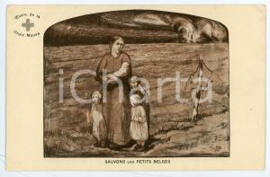 1915 ca WW1 BELGIQUE Croix Mauve - Sauvons les petits belges - Postcard FP NV