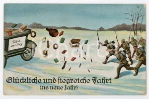 1914 WW1 - HUMOUR Glückliche und siegreiche fahrt ins neue jahre - Postcard FP