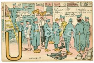1920 ca ALPHABET Letter U - Uniform - Soldiers ILLUSTRATED Postcard FP NV