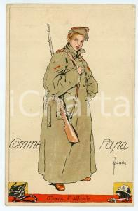 1922 BELGIQUE Artist BUSSCHE Comme Papa -  Boy wearing military uniform Postcard