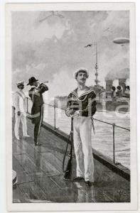 1915ca REGIA MARINA ITALIANA Marinaio sul ponte - Cartolina ILLUSTRATA FP NV
