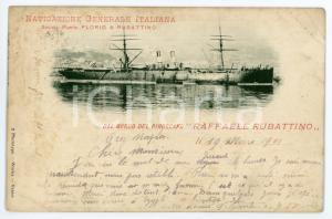 1901 NAVIGAZIONE GENERALE ITALIANA Piroscafo Raffaele Rubattino - Cartolina FP