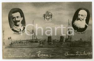 1908 ANVERS Croiseur italien ETNA Vittorio Emanuele III - Léopold II - Cartolina