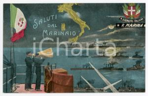1910 ca REGIA MARINA ITALIANA Saluti dal marinaio - Cartolina ILLUSTRATA FP NV