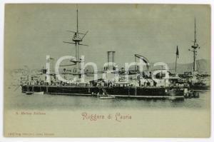 1900ca REGIA MARINA ITALIANA Nave da battaglia RUGGERRO DI LAURIA Cartolina FP