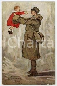 1917 WW1 Artista G. FERRARI Soldato abbraccia bambina - Cartolina FP NV