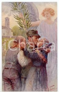 1915 ca WW1 Artista Fortunato TAMI Soldato abbraccia i genitori - Cartolina FP