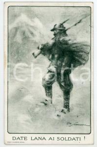 1915 WW1 - ALPINO Artista A. SCOZZARI - Lana ai soldati - Cartolina FP VG
