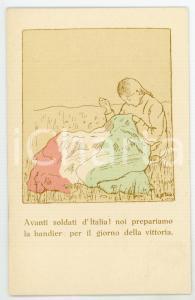 1915 ca WW1 Artista VIDALI Alleanza Femminile - Donna cuce Tricolore - Cartolina