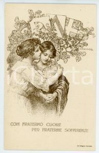 1915 WW1 TORINO Scuola femminile Domenico Berti - Con fraterno cuore *Cartolina