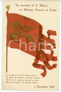 1916 WW1 La bandiera di San Marco sul Palazzo Venezia in Roma - Cartolina FP