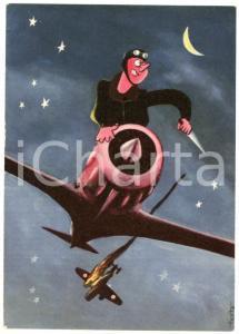 1945 ca ARMA AERONAUTICA La caccia notturna - Ill. di TESTA Cartolina FG NV
