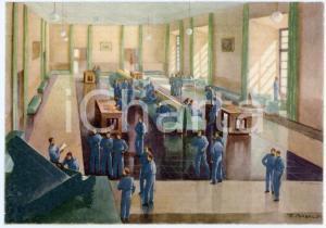 1942 CASERTA Regia Accademia Aeronautica - Salone di ricreazione - Cartolina FG