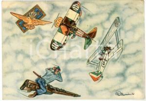 1941 MAK P 100 R. Accademia Aeronautica Corso URANO Cartolina Ill. POLTRONIERI