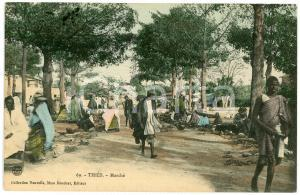 1930 ca THIÈS - SENEGAL Marché - Carte postale FP VG