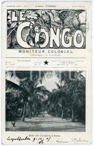 1908 LE CONGO Moniteur Colonial - Allée des Cocotiers à BOMA Postcard DAMAGED
