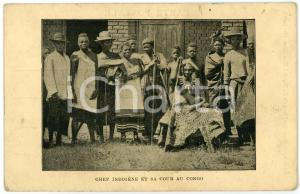 1930 ca CONGO BELGE - AFRIQUE Chef indigene et sa cour - Carte postale FP NV