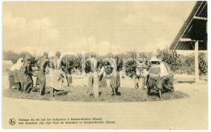 1930 ca CONGO BELGE - KASAI Battage du riz à KATAKO-KOMBE Carte postale FP NV