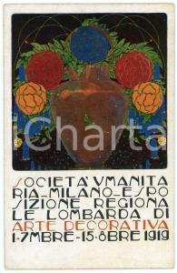 1919 MILANO Società Umanitaria - Esposizione lombarda arte decorativa Cartolina