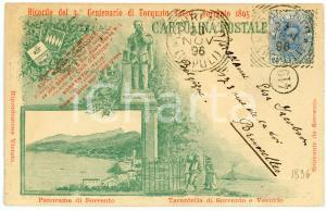1895 SORRENTO Terzo centenario di Torquato TASSO Cartolina ILLUSTRATA FP VG