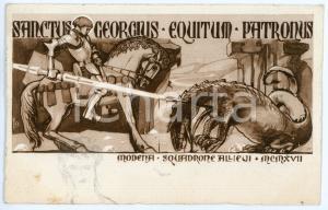 1916 MODENA Squadrone allievi - San Giorgio e il drago - Cartolina ILLUSTRATA