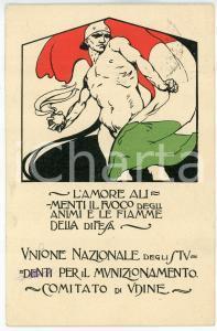 1917 UDINE Unione degli studenti per il munizionamento - Cartolina ILLUSTRATA FP
