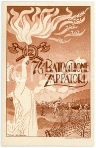 1910 ca REGIO ESERCITO 76° Battaglione Zappatori - Ill. di TESSITORI Cartolina