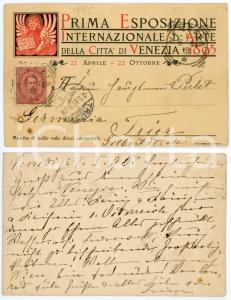 1895 VENEZIA Prima Esposizione Internazionale d'Arte - Cartolina RARA FP VG