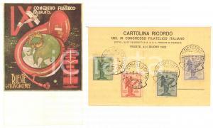 1922 TRIESTE IX Congresso Filatelico Italiano - Cartolina ricordo annulli RARA