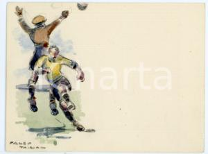 1930 ca BRUXELLES James THIRIAR - Football scene (1) Signed watercolour 11x8 cm