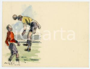 1930 ca BRUXELLES James THIRIAR - Football scene (2) Signed watercolour 11x8 cm