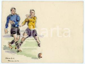 1930 ca BRUXELLES James THIRIAR - Football scene (3) Signed watercolour 11x8 cm