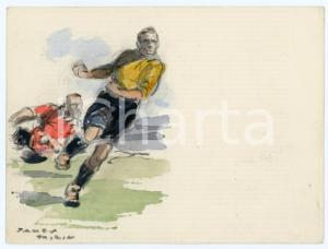 1930 ca BRUXELLES James THIRIAR - Football scene (4) Signed watercolour 11x8 cm